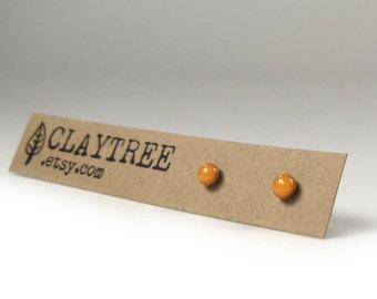 PUMPKIN Orange Stud Earrings - Hypoallergenic - Surgical Steel Studs - Bright Orange - Tiny Post Earrings - 3mm Circle - Resin - 3mm