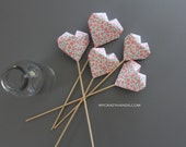 SALE 15% OFF . 5 hearts bouquet . Valentins toppers . table decorations . wedding cake toppers . misty pink blossom -{heart like a balloon}