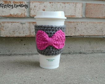Coffee Cup Cozy with Bow - Coozie - Pink and Grey - Coffee Cosy - Customizable