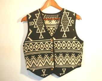 Vintage Cowgirl Western Vest, Native American Pattern, Black & White Cotton, Women's size P/S