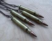 bullet necklaces // .223 brass + copper bullet pendants. copper cable chain.