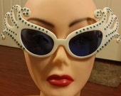 50% OFF SALE ENDING Soon. Dr. Peepers large vintage carnival Mardi Gras style cat eye sunglasses with extended curved corners