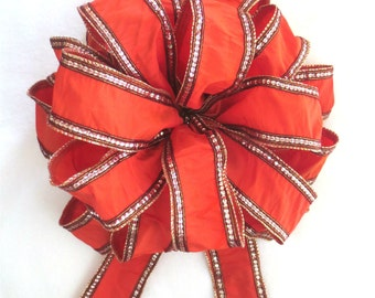 Orange Bow, Tree Topper Bow, Christmas Bow, Christmas Tree Bow