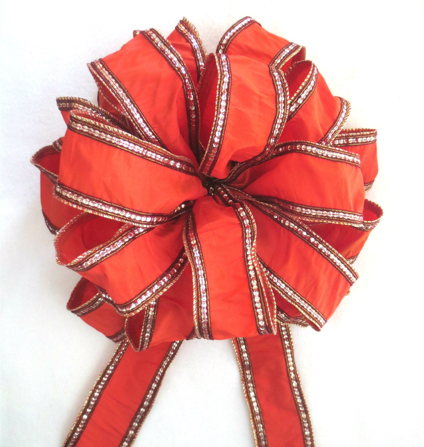orange bow tree topper bow christmas bow christmas tree bow. Black Bedroom Furniture Sets. Home Design Ideas