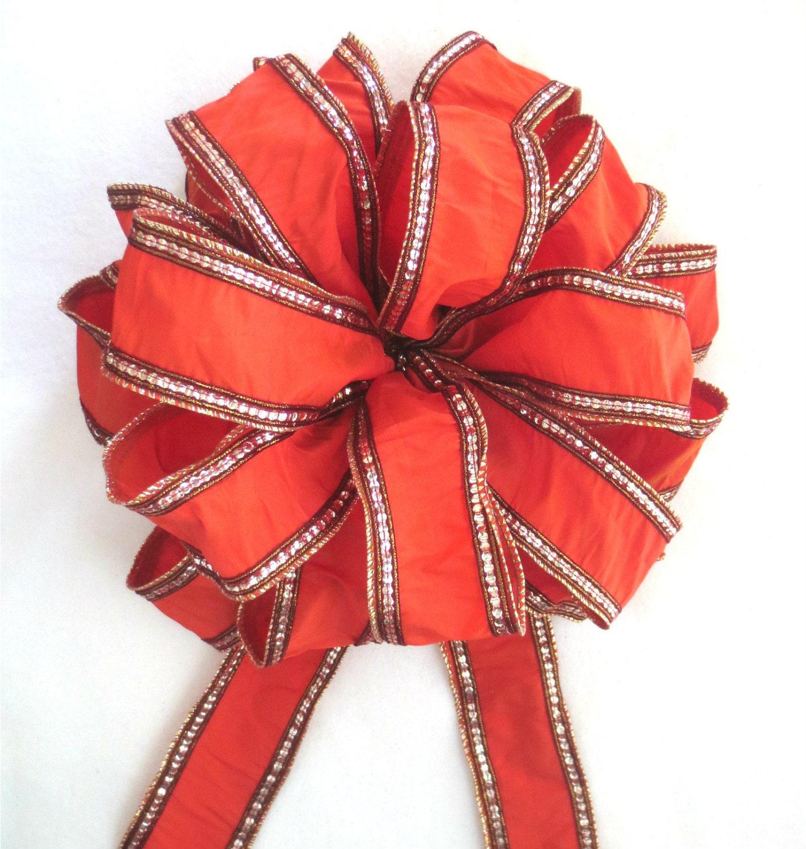 Orange Bow Tree Topper Bow Christmas Bow Christmas Tree Bow