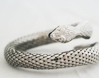 Bracelet - Whiting & Davis Silver Mesh Coil Adjustable Snake Serpent