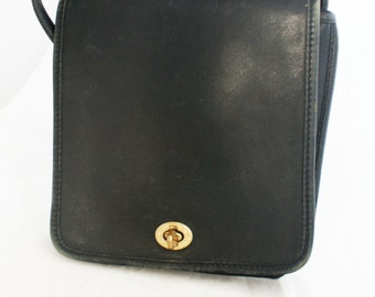 COACH bag- Small Black Leather Satchel with gold hardware and crossbody strap