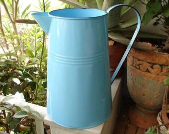 vintage tin, metal blue enamel jug, pitcher, vase, waterer, shabby chic garden, flower pot.