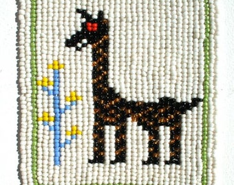 GIRAFFE BEADED COASTER - hand crafted in Africa - Beautiful detail-  African Art  Unique piece of African Art - Beaded Giraffe  Free Postage