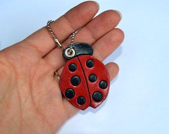 Ladybug leather keychain charm - Hand cut / Hand painted