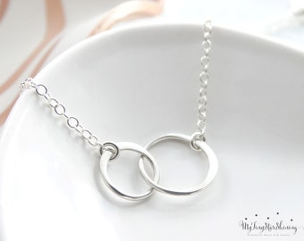 Circle Necklace Silver Eternity Necklace Two Circles Necklace Double Circle Necklace Bridesmaid Jewelry Bridesmaid Gifts