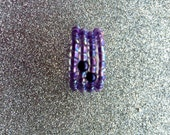 Purple Aurora Borealis Glass Seed Bead and blackcurrant plastic pearl Rocaille Expanding Ring Size Q, Seed Bead Ring, Glass Ring