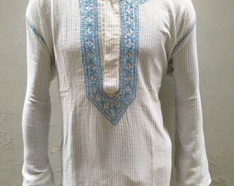 Mens embroidered shirt viking tunic unique gifts for men bohemian shirt beach wedding dress in blue embroidery boho style indian ethnic top