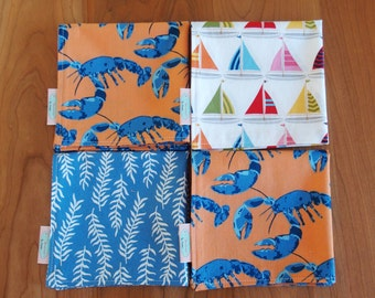 Nautical Cocktail Napkins or Lunchbox Napkins (4) with Sailboats, Kelp, and Lobsters, Mix and Match, Shore Thing, Beach Napkins, Beach Decor