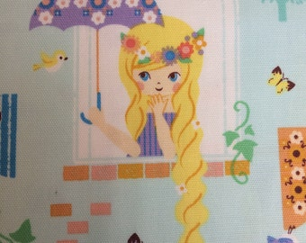 Rapunzel fabric in Aqua by Kokka Japan