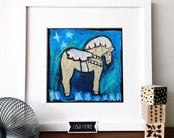 Dala Horse boy's room blue and cream nursery art print