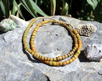 Vintage African Trade Beads, Pressed Glass, Sand Cast, Beads Traveling the Globe, Orange, T. 40