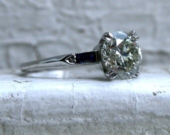 Classic Vintage Platinum Diamond Engagement Ring with Baguette Sapphires - 2.30ct.