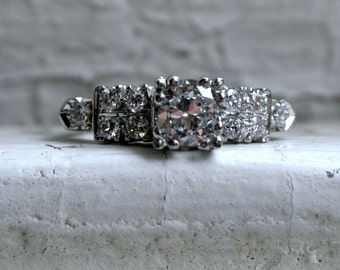 Vintage Platinum Diamond Engagement Ring - 0.77ct.