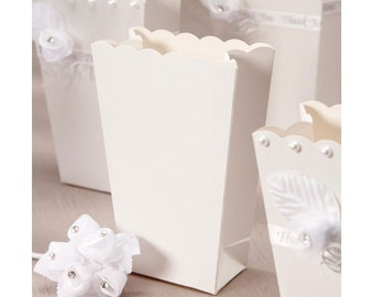 """6 White Scalloped Edge Popcorn Favor Boxes for Candy, Popcorn, Favors  - 1.5"""" x 2.37"""" x 5.37"""" - Ready to Embellish"""