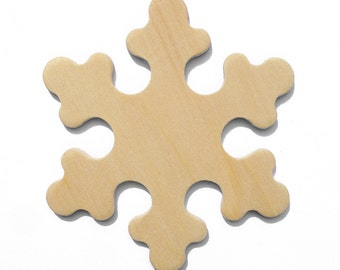 25 - 2 3/8 Inch Natural Unfinished Wood Snowflakes Ready to Embellish for Holiday Crafts