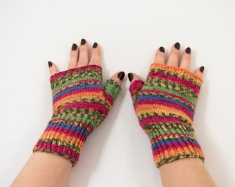Hand Knitted Fingerless Gloves - Red, Orange, Blue, Size Medium