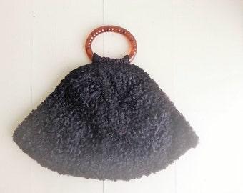 Vintage Persian lamb fur muff purse art deco