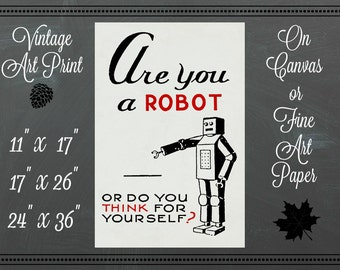Robot Print / Canvas or Fine Art Paper / Vintage Art