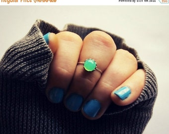 FALL SALE sterling silver knuckle ring with mint opal, midi ring, silver knuckle ring, midi ring, minimalist ring, stacking ring, green ring