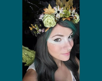 Black and Green Woodland Fairy Flower Crown