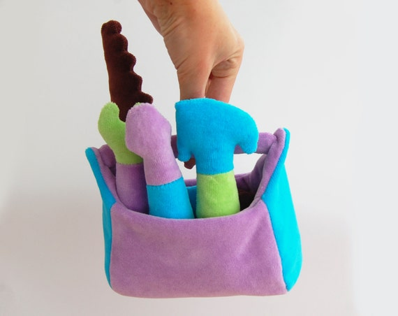 Soft teething toy Tool Box Plush gift for baby Rattle boy kids
