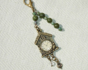 Bronze Steampunk Coo Coo Clock Fashion Charm with Gemstones