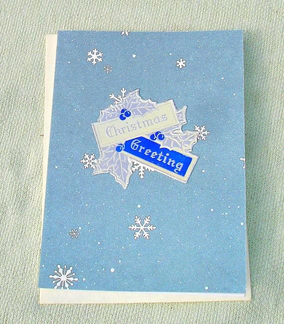 Vintage Inspired Christmas Greeting Handmade Card - Handmade Cards