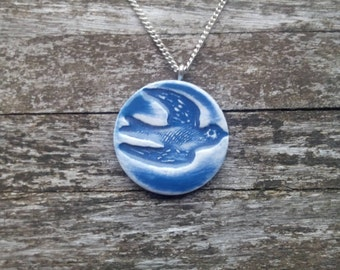 Blue swallow necklace vintage effect ceramic bird silver chain or blue suede Monaco blue