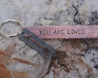 Rustic arrow personalized copper key chain