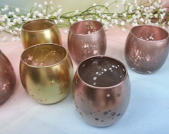1 per Small Round Votive Tea light Candle Holder for Weddings, Bachelorette Parties, Receptions, Gold, Silver mercury, Rose Gold Party,