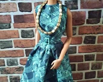 Swirly Print Drop Waist Dress w/ Belt for Barbie or similar fashion doll