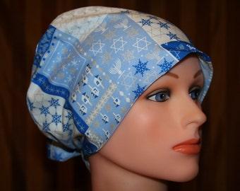 Tie Back Surgical Scrub Hat/Chemo Hat--Happy Hanukkah