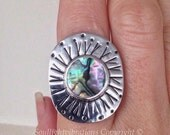 Abalone Rune Ring Wide Band Handmade Fine Silver and Sterling Silver Unique size 7 1/2