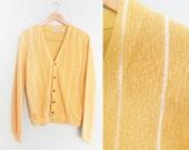 vintage cardigan / grandpa cardigan / striped / 1970s grunge mustard striped cardigan Mediuim