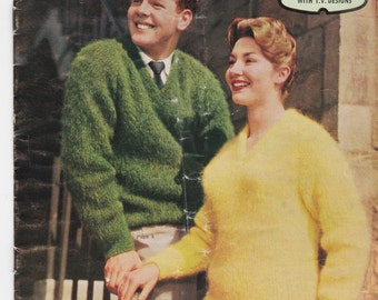 Patons  Knitting Pattern No 576 For in Patons Mohair  (Vintage 1960s)Jumpers, Sweaters, Jackets, Cardigans, Stole, Hat, Scarf