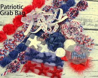 GRAB BAG - Limited Quantites - 4th Of July - Shabby Flowers - Elastic - Puff Flowers - Stars - Bows - diy Headband Supply Patriotic Red Blue