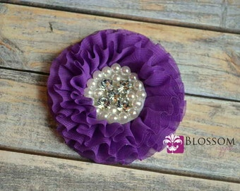 PURPLE Flowers - The Rebecca Collection - Ruffled Pearl Rhinestone Chiffon Flowers - DIY Flower Headband & Clip Garters - Wholesale - Grape