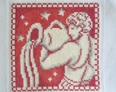 Finished / Completed Cross Stitch - Lanarte - Red Signs of the Zodiac:Aquarius (34970) crossstitch counted cross stitch