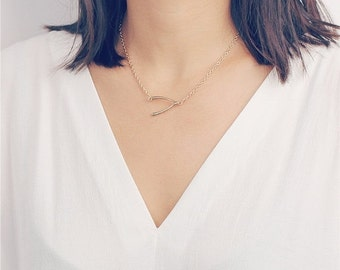 ON SALE Make a wish Friendship necklace chain with sideways gold wishbone charm