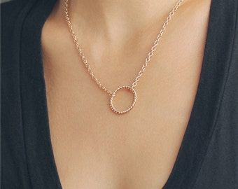 Delicate simple everyday open circle necklace