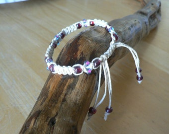 """Hemp Beaded Bracelet, 6 3/4 """""""
