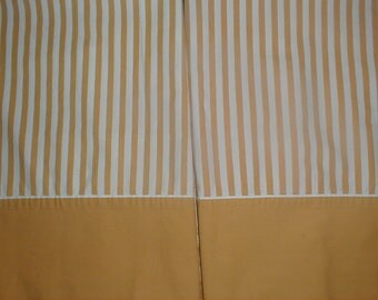 two vintage yellow mustard striped pillowcases percale cotton nice pair