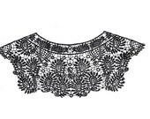 SALE Day Venice Lace Crochet Yoke Necklace Collar Applique in black or white, for fashion crafts