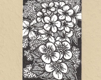 ACEO, Flowers, ATC, Art Trading Card, Original Drawing, Ink, Floral, Kid Friendly